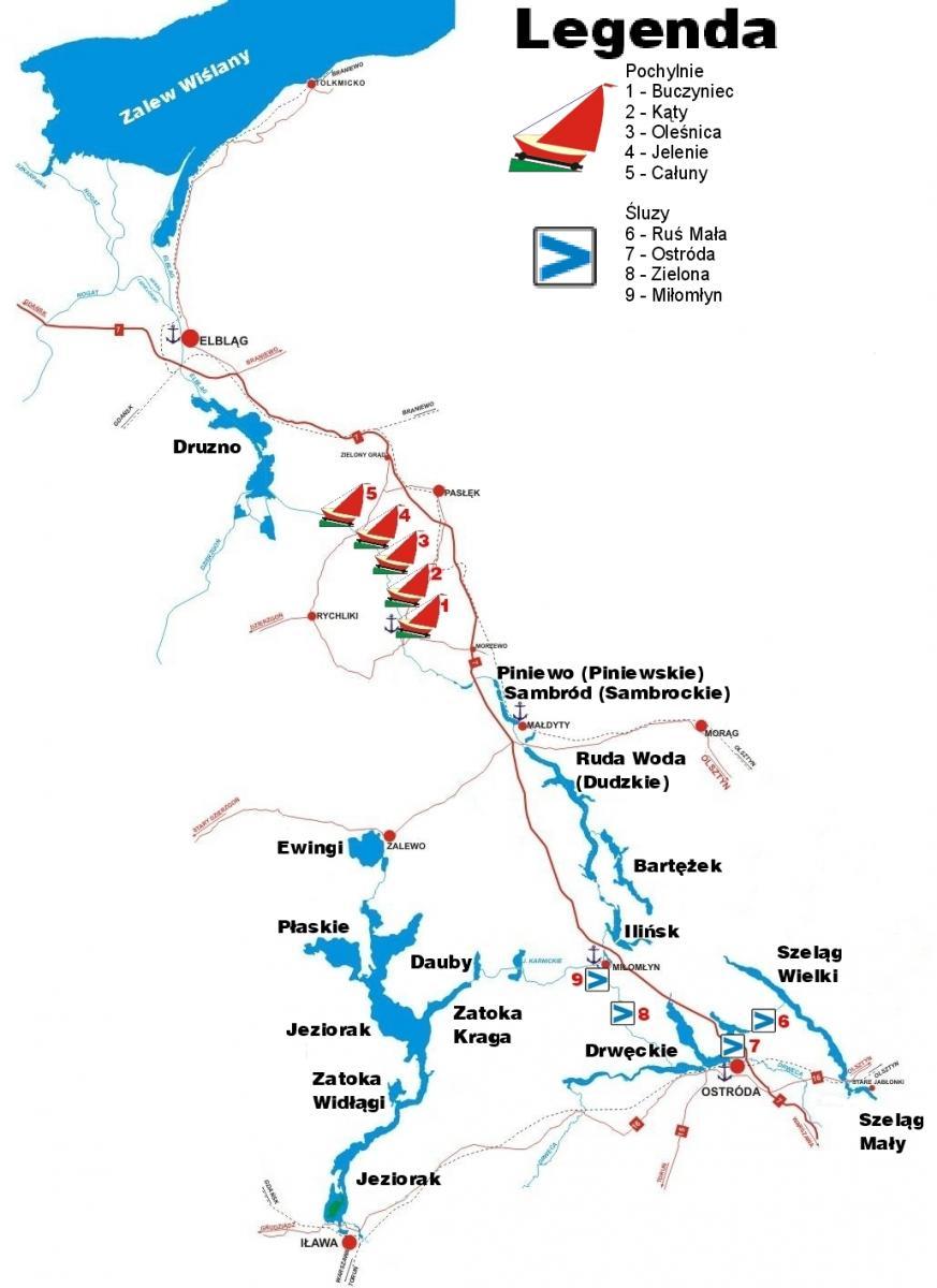 Kanal Elblaski I Pojezierze Ilawskie Schemat Zalew Wislany